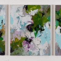 <h2>Barefoot in the Garden &#8211; Triptych</h2> ink and acrylic on canvas
