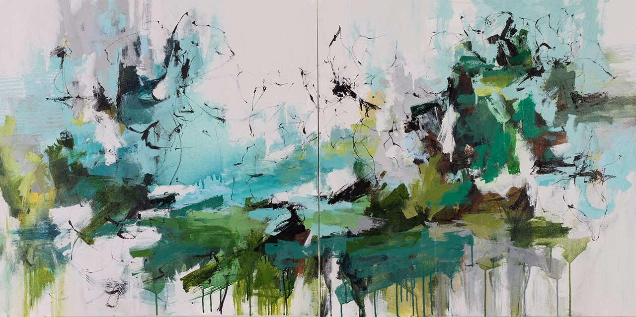 The tide rolls in diptych carlos ramirez art for Canvas roll for painting
