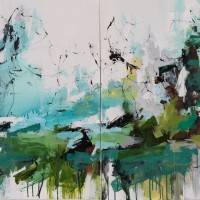 <h2>The Tide Rolls In (Diptych)</h2> ink and acrylic on canvas
