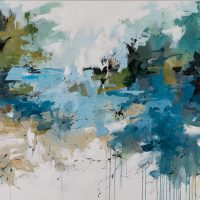 <h2>Swimming in the Lagoon &#8211; Cape Florida</h2> ink and acrylic on canvas
