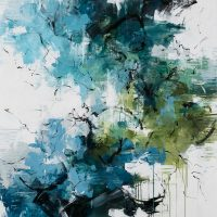 <h2>A Summer Shower</h2> ink and acrylic on canvas