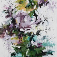 <h2>Wisteria Drapes the Porch</h2> ink and acrylic on canvas