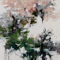 <h2>In a Japanese Garden</h2> ink and acrylic on canvas