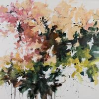 <h2>Midsummer Garden</h2> ink and acrylic on canvas