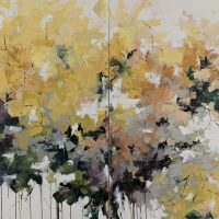 <h2>Autumn Slowly Unfolds – Diptych</h2> ink and acrylic on canvas