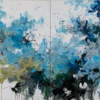 <h2>The Lagoon – Diptych</h2> ink and acrylic on canvas
