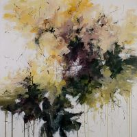 <h2>The Frangipani Tree</h2> ink and acrylic on canvas
