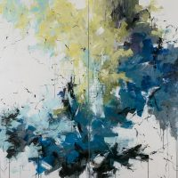 <h2>The Lily Pond – Diptych</h2> ink and acrylic on canvas