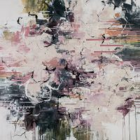 <h2>Pink Champagne</h2> ink and acrylic on canvas