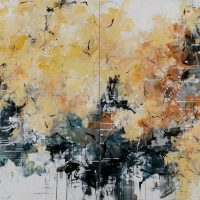<h2>Autumn Hike Under the Aspens – Diptych</h2> ink and acrylic on canvas